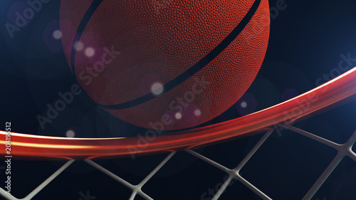 Photo  3D illustration of Basketball ball falling in a hoop