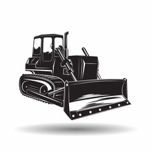 Monochrome Bulldozer Icon