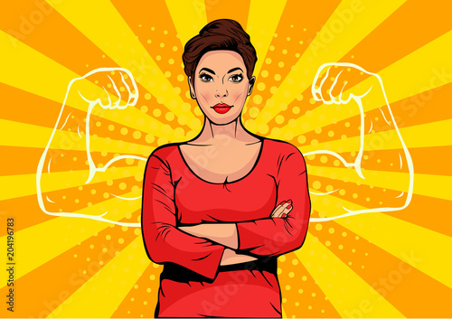 Businesswoman with muscles pop art retro style Tablou Canvas
