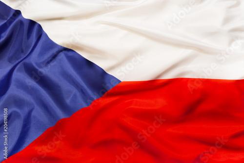 Fototapeta Czech Republic national flag with waving fabric