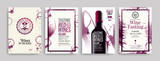 Collection of templates with wine designs. Brochures, posters, invitation cards, promotion banners, menus. Wine stains background. - 204200129