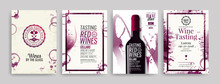 Collection Of Templates With Wine Designs. Brochures, Posters, Invitation Cards, Promotion Banners, Menus. Wine Stains Background.