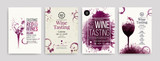 Collection of templates with wine designs. Brochures, posters, invitation cards, promotion banners, menus. Wine stains background. - 204200384