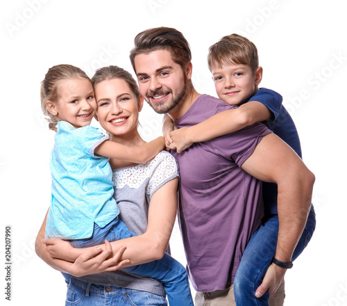 Obraz Portrait of couple with children on white background. Happy family - fototapety do salonu