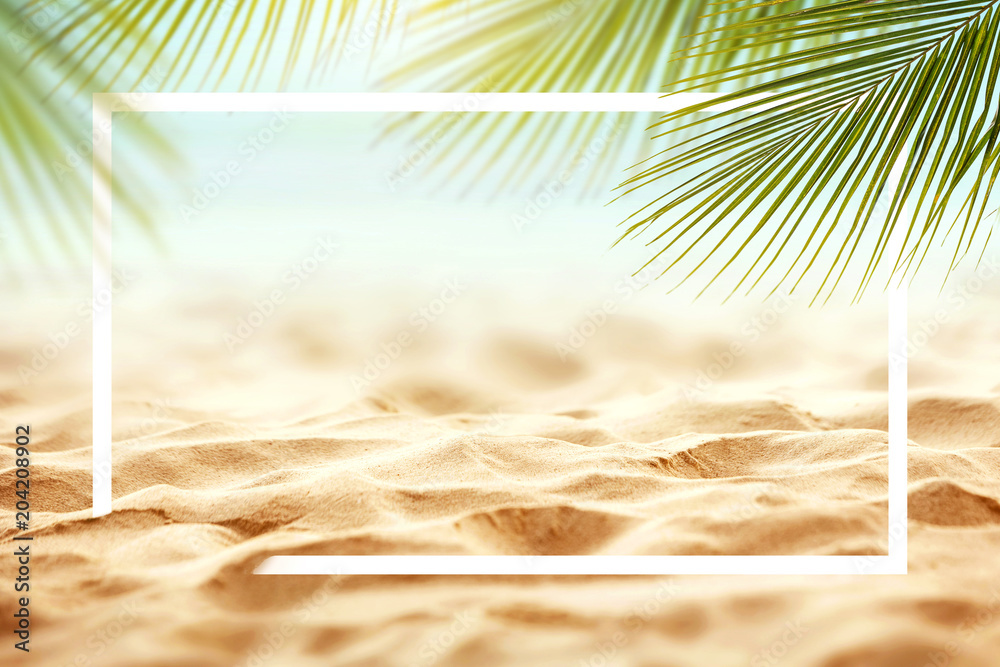Fototapety, obrazy: Sand with Palm and tropical beach and sea background with frame design for creative advertising Summer vacation and travel concept. Copy space