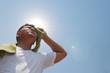 Leinwanddruck Bild - Young man and heat stroke.