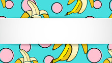 Banana Background With Pop Art Dots In 80s, 90s Style. Summer Tropical Banner With 3d Paper Plate. Fruit Ribbon With Banana Background For Season Sale, Special Offer, Flyer And Ad. Trendy Template.