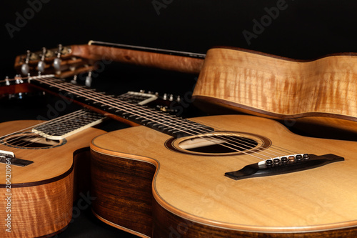Fototapety Muzyka acoustic-guitars-hand-made-wooden-classical-and-folk-music-instruments