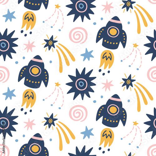 Tapety Kosmos dzieciecy-bezszwowy-wzor-z-astronautycznym-galaxy
