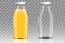Orange Juice Glass Bottle Vector Mockup Set