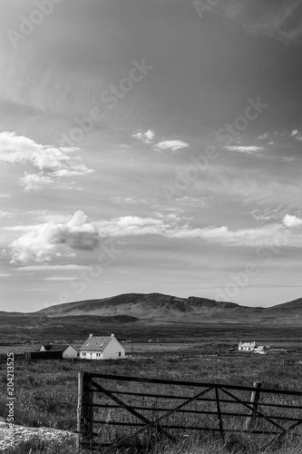 Canvas Black and White Landscape and House