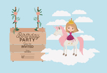 Invited Birthday Party Card With Unicorn And Princess Vector Illustration Design