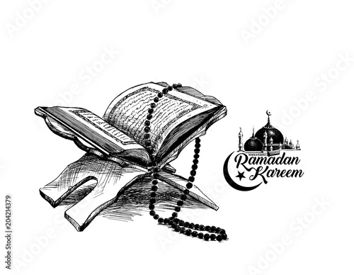 The holy book of the Koran on the stand with calligraphy stylish lettering Ramadan Kareem text  , Hand Drawn Sketch Vector illustration. Wall mural