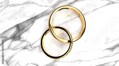 Fotografie, Obraz  Forever together wedding rings with engraved word 'forever' on a white marble ta