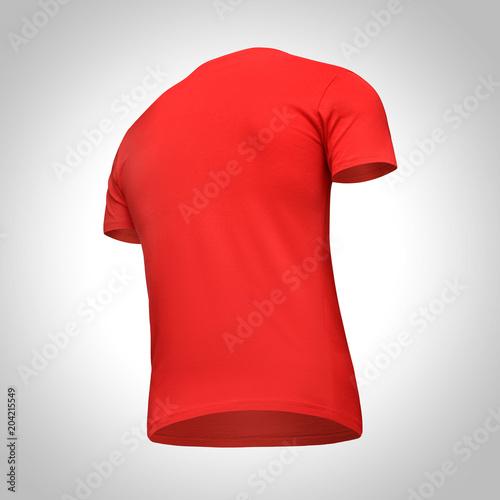 Blank Template Men Red T Shirt Short Sleeve Back View Bottom Up