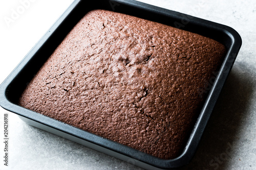 Freshly Baked Chocolate Sponge Cake  in Square Mold. Tablou Canvas