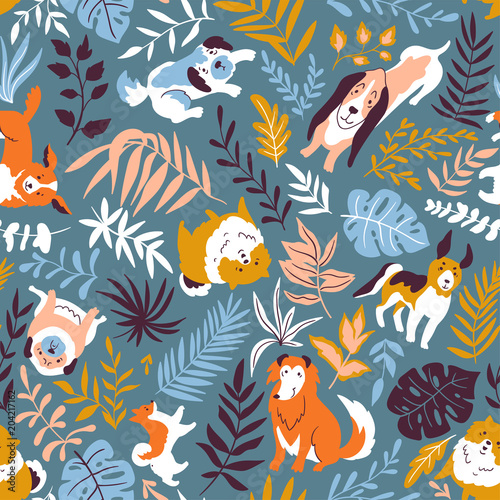 Vector  illustration with cute hand drawn dogs and tropical plants. Seamless fashion  pattern. Trendy scandinavian design.