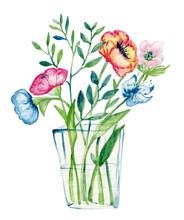Pastel Color Illustration With Flowers In A Glass Vase. Watercolor Painting.