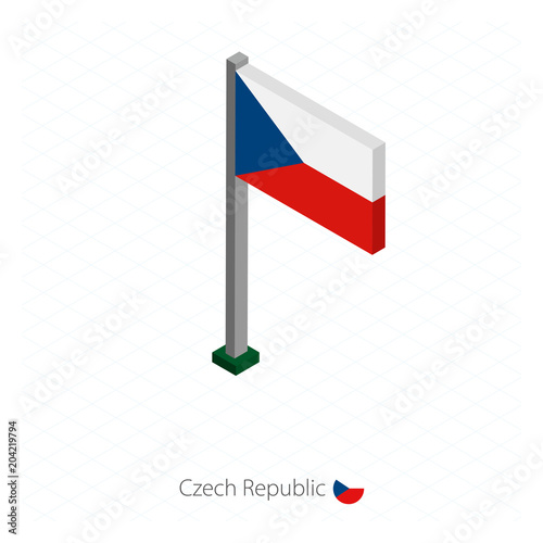 Czech Republic Flag on Flagpole in Isometric dimension. Poster