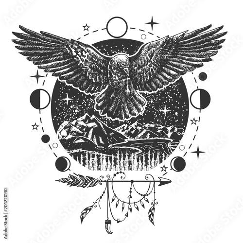 Vector black raven tattoo or t-shirt print design