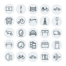 Modern Simple Set Of Transports, Industry, Furniture Vector Outline Icons. Contains Such Icons As  Door, Bed, Aircraft,  Architecture, Car And More On White Background. Fully Editable. Pixel Perfect