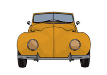 Yellow Sports Car Retro Vector