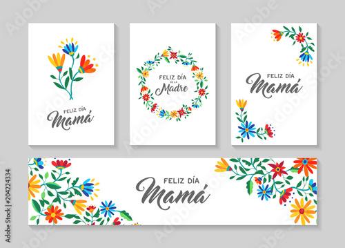 Happy mother day spanish flower art card set