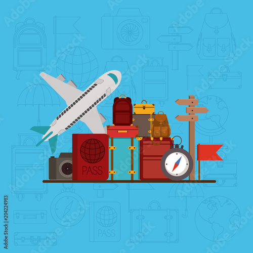 travel around the world set icons vector illustration design Tablou Canvas