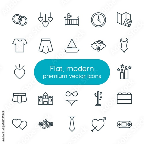 Modern Simple Set of clothes, valentine, kids and toys Vector outline Icons Wallpaper Mural