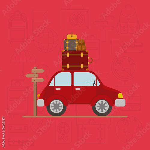 Plakat travel around the world set icons vector illustration design