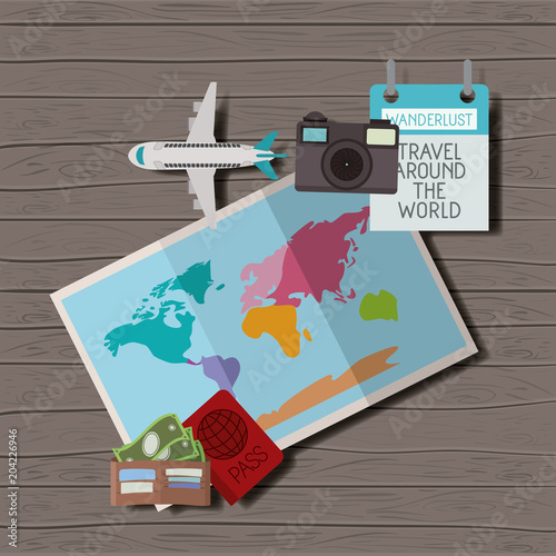 Fotografie, Tablou  travel around the world set icons vector illustration design