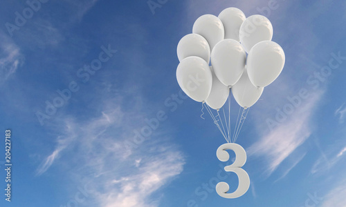 Obraz Number 3 party celebration. Number attached to a bunch of white balloons against blue sky - fototapety do salonu