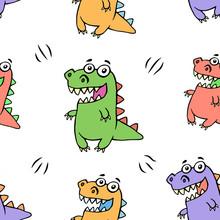 Cute Happy Dragon Pattern. Vec...