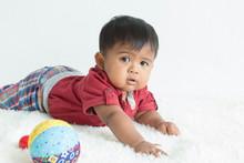 Cute Little Boy Lying On Soft ...