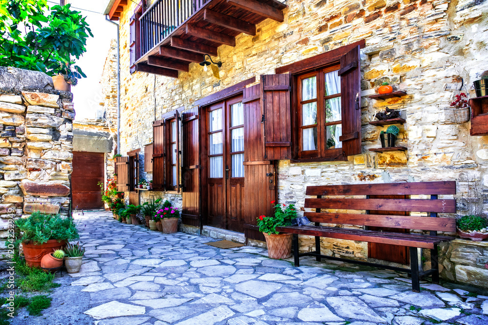 Fototapeta Beautiful floral streets and houses of old traditional villages of Cyprus. Lefkara