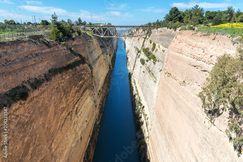 View of the Corinth canal in Greece. Poster
