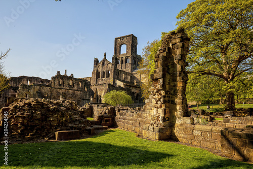 Medieval Kirkstall Abbey in Leeds, Great Britain. Canvas Print