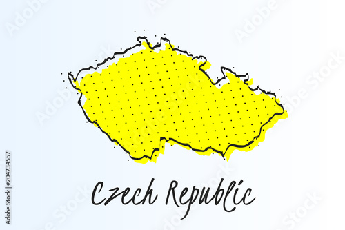 Map of Czech Republic, halftone abstract background Poster