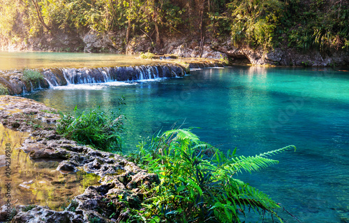 Photo sur Toile Bleu vert Pools in Guatemala