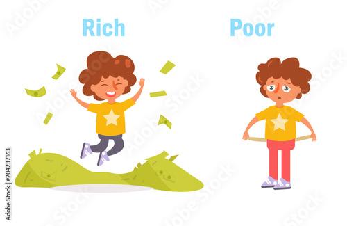 Antonym. Rich and poor Vector Canvas Print