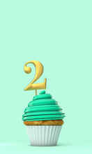 Number 2 Mint Green Birthday C...