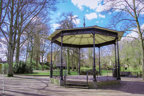 Old-fashioned bandstand in park. Gouda, the Netherlands. Canvas Print