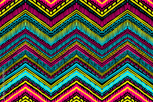 Fotobehang Boho Stijl Abstract Ikat and boho style handcraft fabric pattern. Traditional Ethnic design for clothing and textile background, carpet or wallpaper