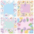 kawaii animals template collection decoration vector illustration