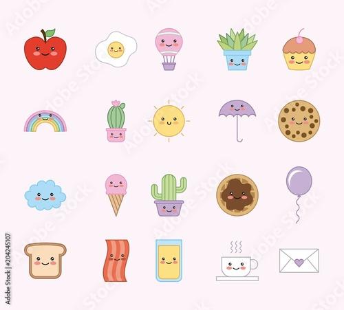 kawaii cartoon set animals food decoration pattern vector illustration