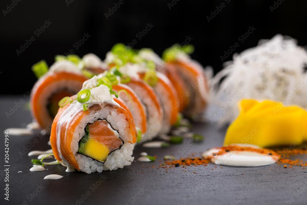 Fototapety, obrazy: sushi rolls isolated on the black background