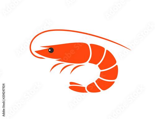 Cuadros en Lienzo  Shrimp logo. Isolated shrimp on white background