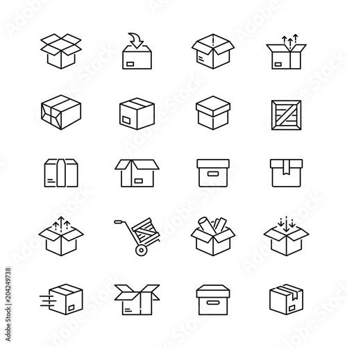 Box related icons: thin vector icon set, black and white kit Fototapete