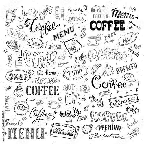 duzy-zestaw-do-kawy-znaki-obiekty-i-litery-na-bialym-tle