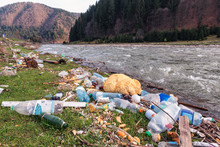Garbage On The River Bank